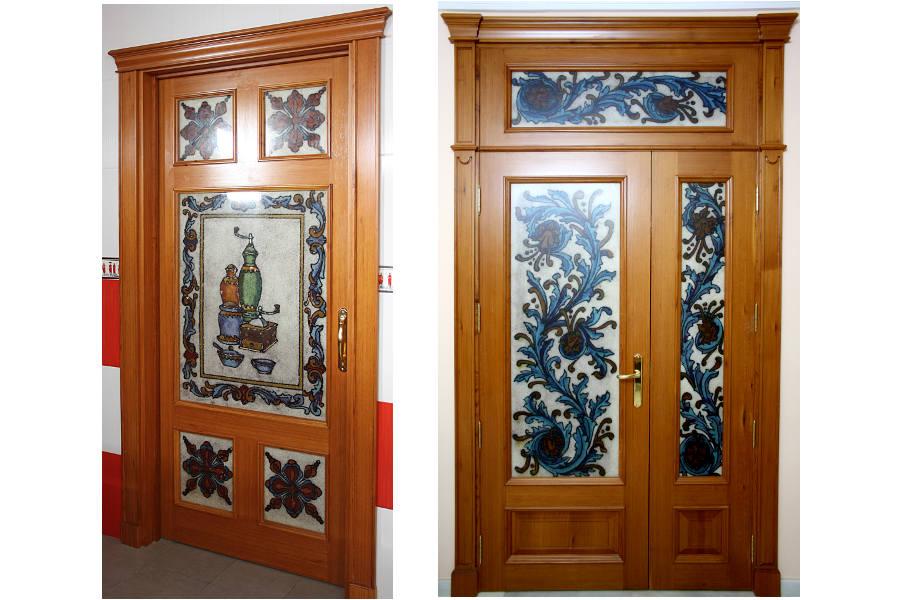 Puertas con vidrieras artesanales